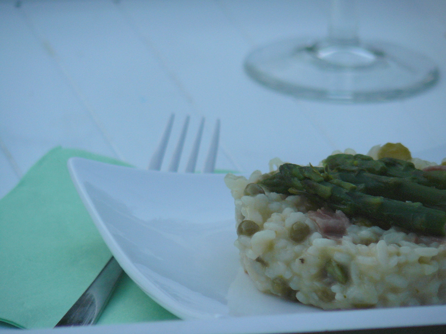 Risotto aux asperges, petits pois et jambon cru461_870